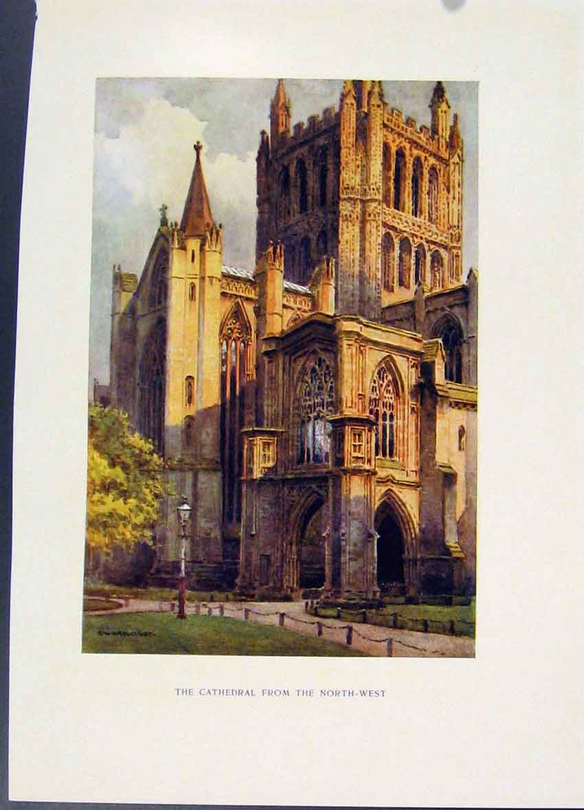 Print Cathedral Northwest Hereford Painting By Haslehust 048251 Old Original