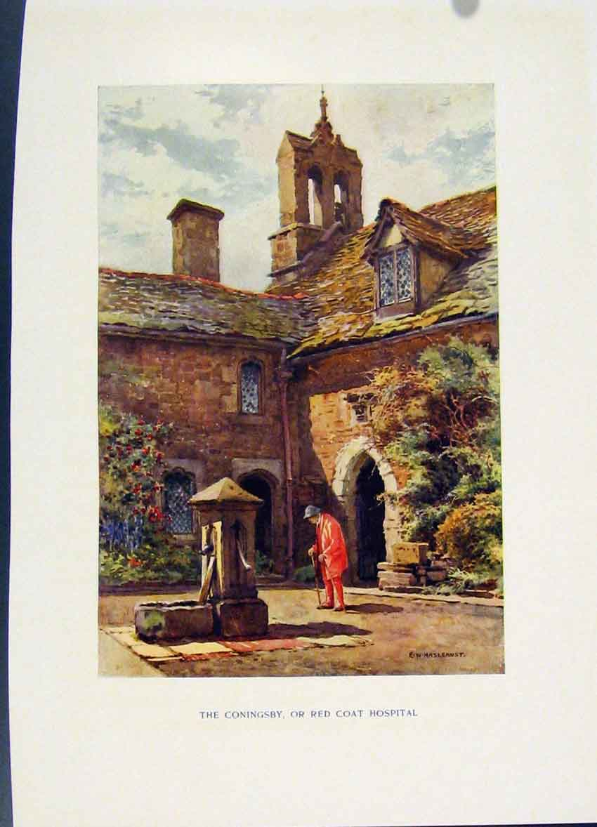 Print Coningsby Red Coat Hospital Painting By Haslehust C1920 058251 Old Original