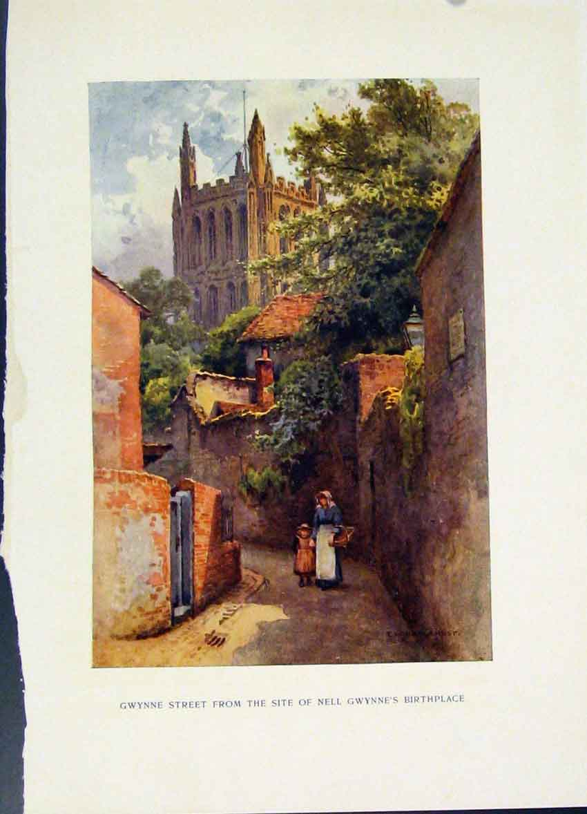 Print Gwynne Street Site Nell Birthplace Haslehust Painting 068251 Old Original