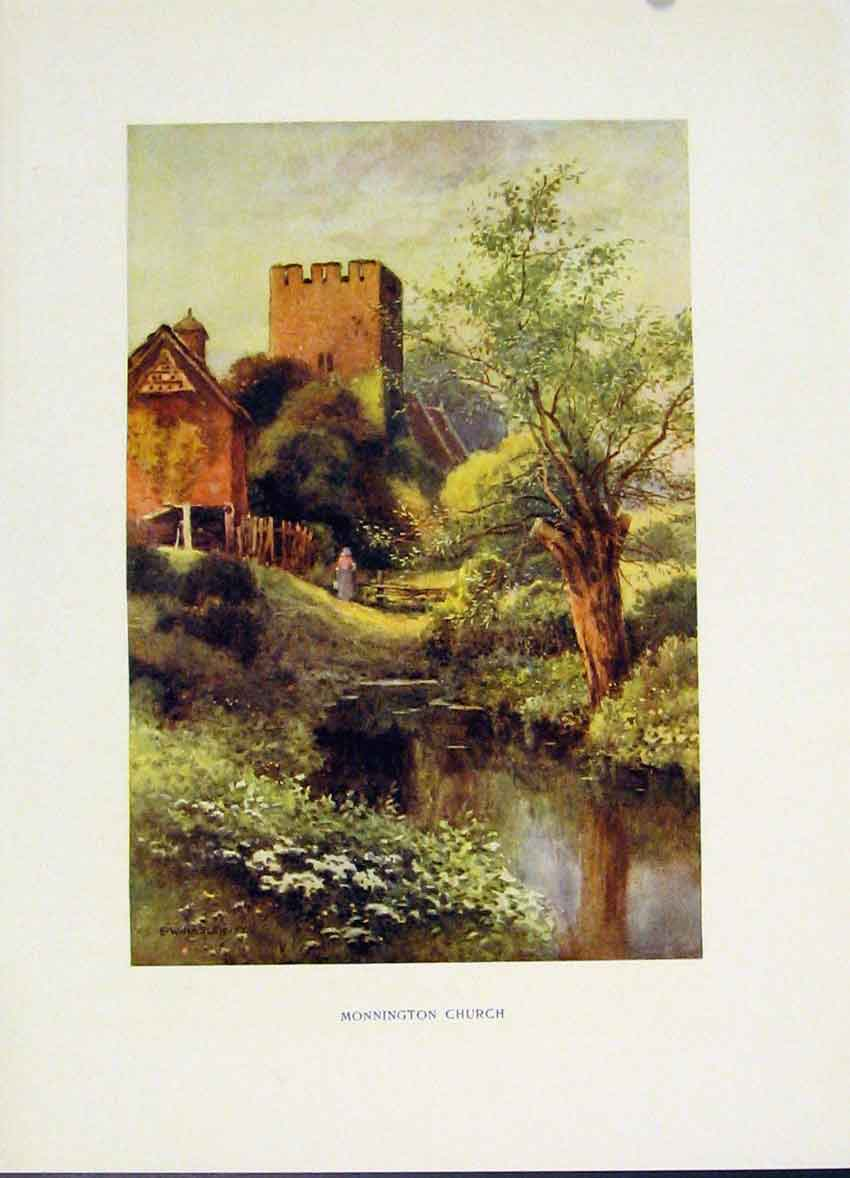 Print Color Painting By Haslehust Monnington Church 118251 Old Original