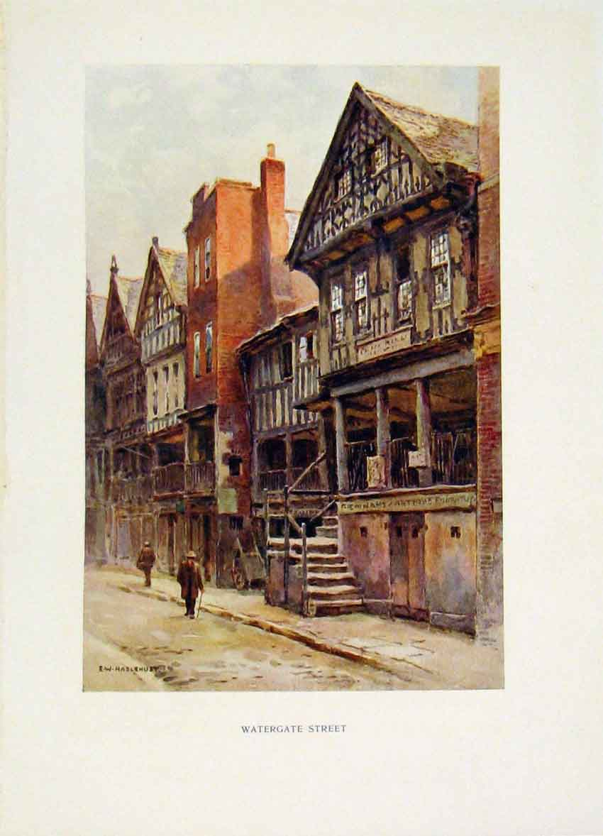 Print Chester Painting By Haslehust Watergate Street Color 148251 Old Original