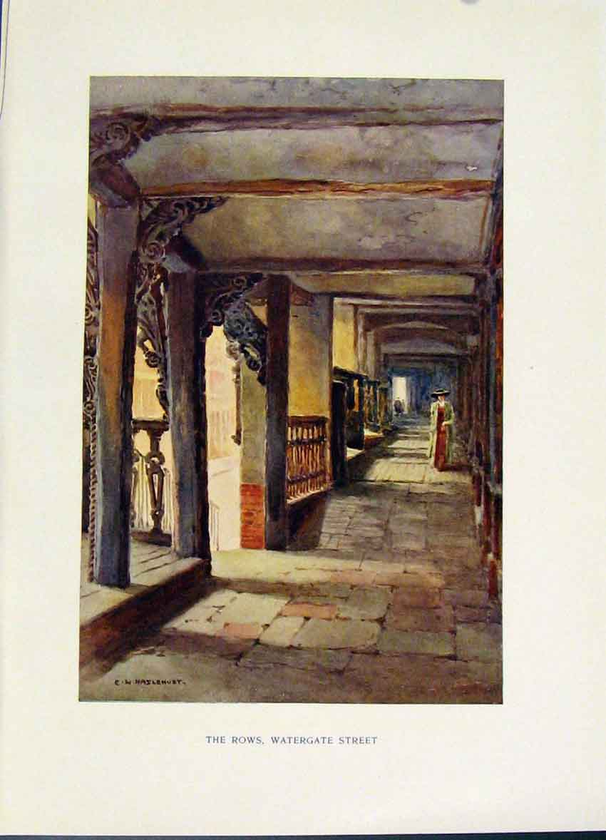 Print Rows Watergate Street Chester Painting By Haslehust 158251 Old Original
