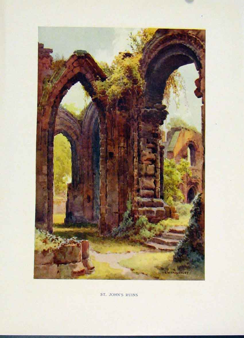 Print Chester C1920 Painting By Haslehust St Johns Ruins Art 188251 Old Original