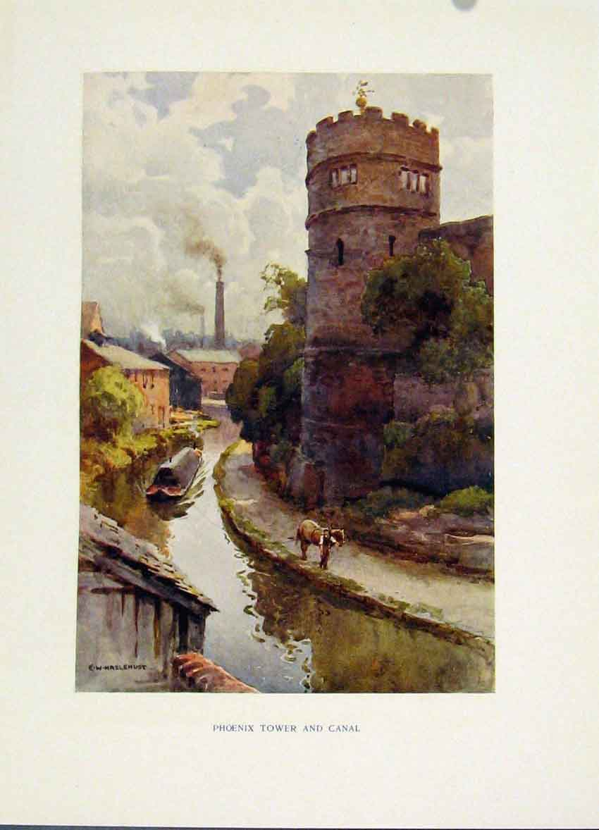 Print Phoenix Tower Canal C1920 Painting By Haslehust 198251 Old Original