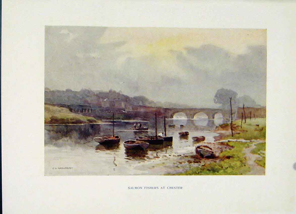 Print Salmon Fishers Chester Painting By Haslehust Fine Art 218251 Old Original