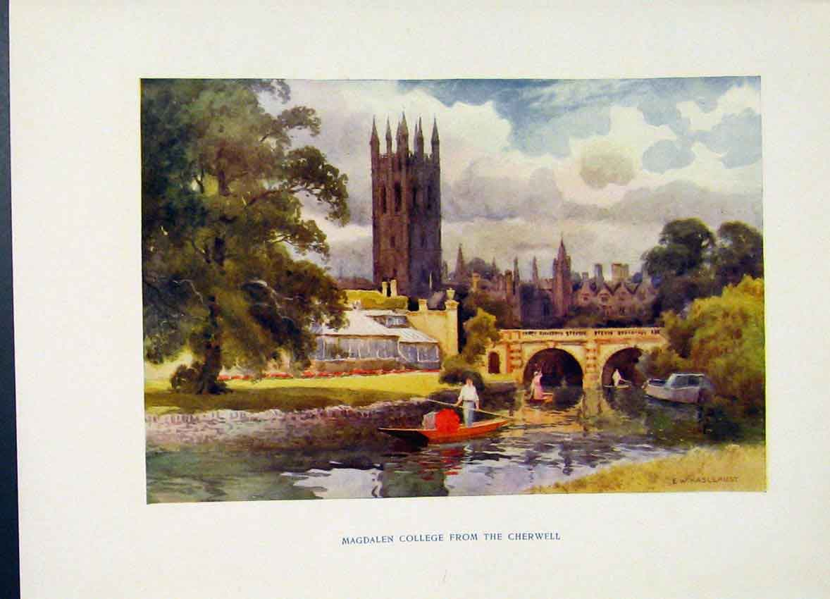 Print Painting By Haslehust Magdalen College Cherwell C1920 258251 Old Original