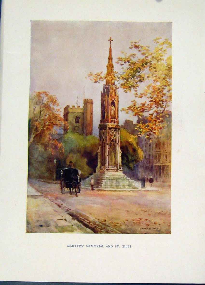Print Martyrs Memorial St Giles Oxford Painting By Haslehust 278251 Old Original