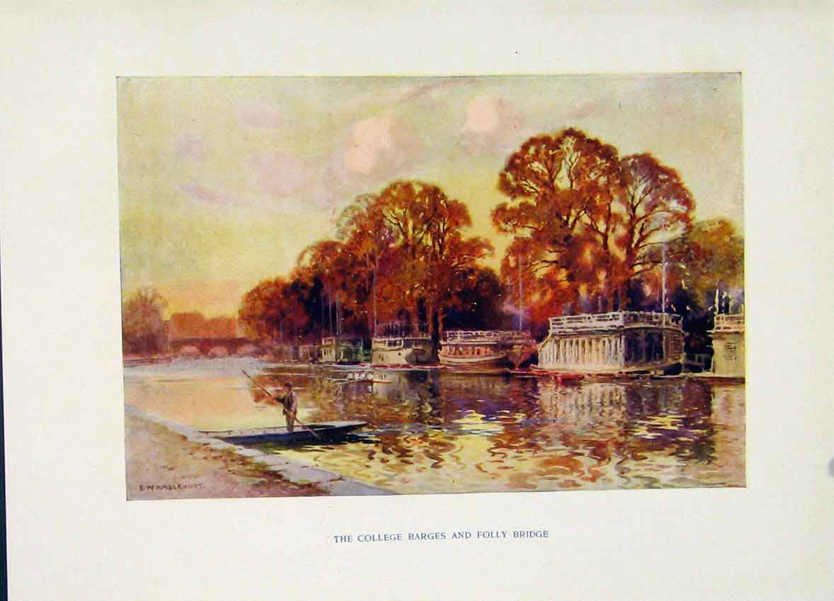 Print College Barges Folly Bridge Painting By Haslehust C1920 288251 Old Original