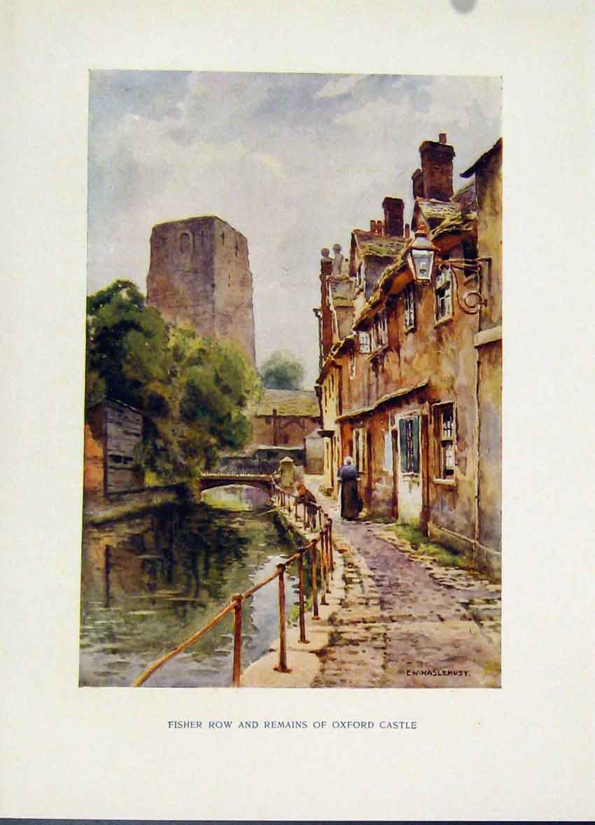 Print Fisher Row Remains Oxford Castle Painting By Haslehust 298251 Old Original