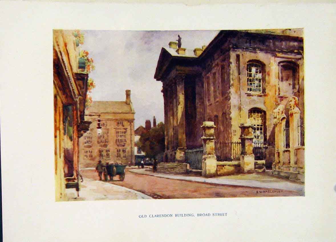 Print Clarendon Building Broad Street Haslehust Painting 318251 Old Original