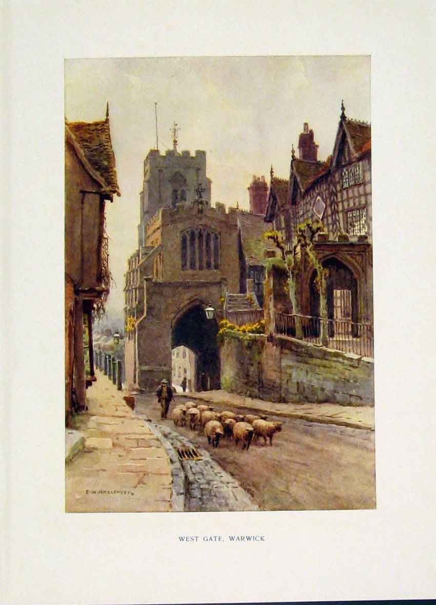 Print West Gate Warwick Street Painting By Haslehust C1920 398251 Old Original