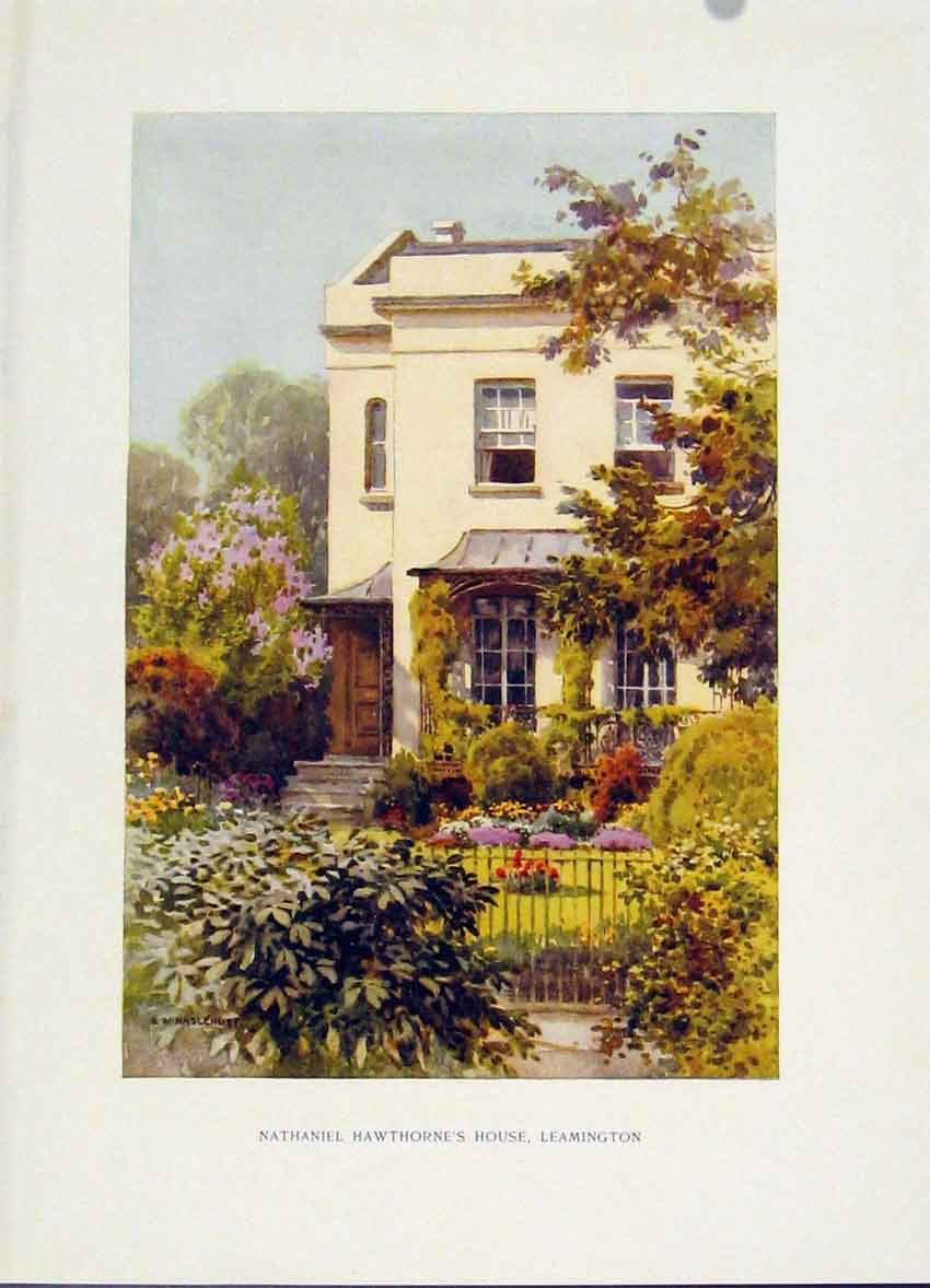 Print Painting By Haslehust Hawthornes House Leamington 448251 Old Original