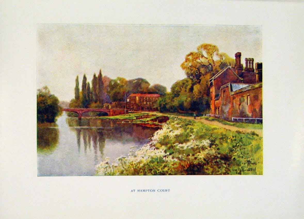 Print Hampton Court C1920 Painting By Haslehust Color 058251 Old Original
