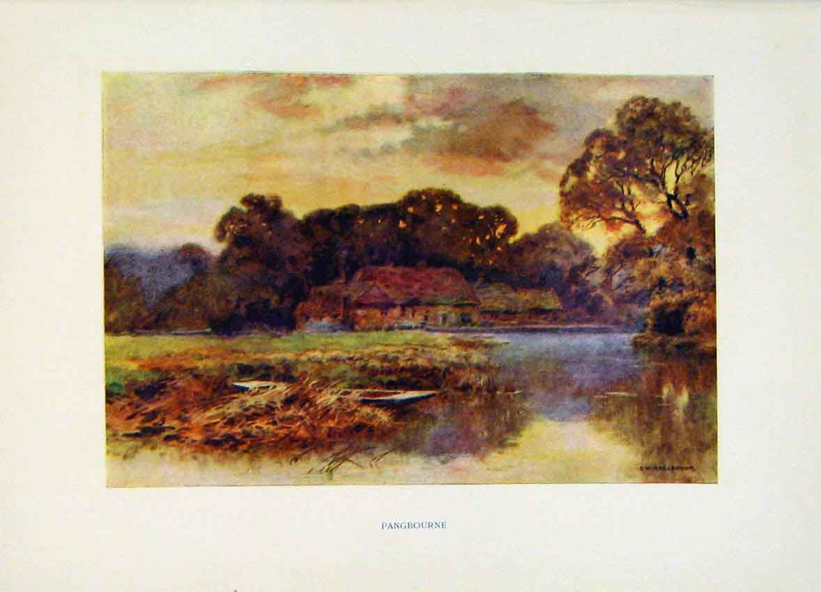 Print Pangborune Painting By Haslehust C1920 Fine Art 098251 Old Original