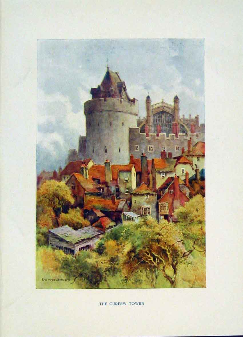 Print Painting By Haslehust Windsor Curfew Tower Fine Art 138251 Old Original