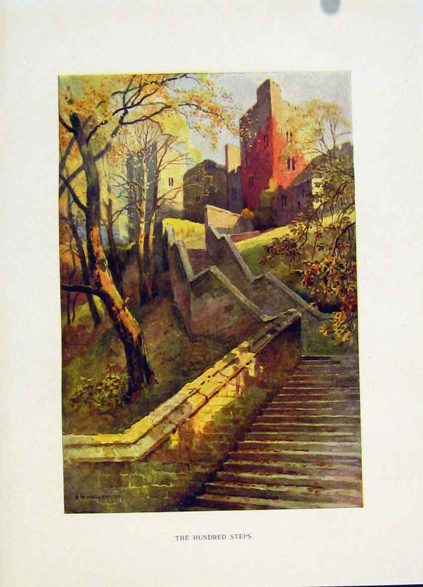 Print C1920 Windsor Hundred Steps Painting By Haslehust Art 168251 Old Original