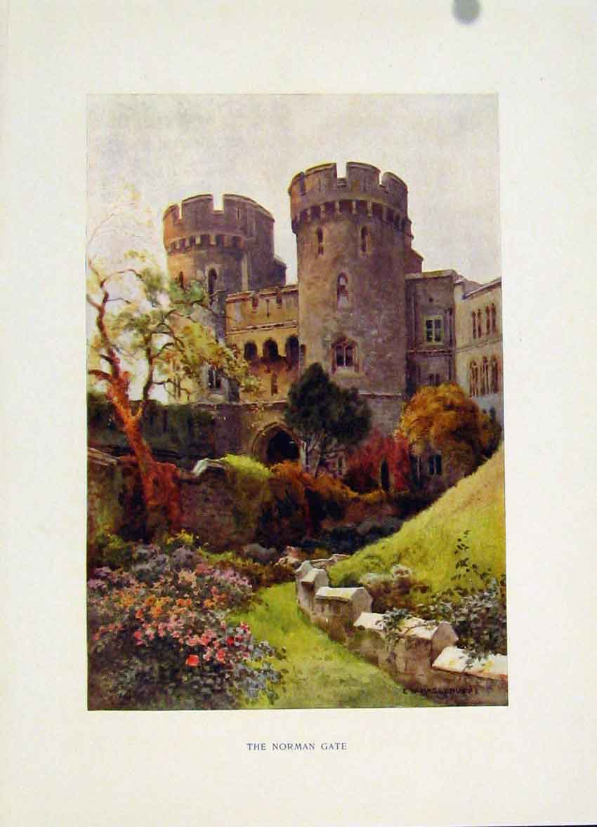 Print Windsor Norman Gate Painting By Haslehust C1920 Art 178251 Old Original