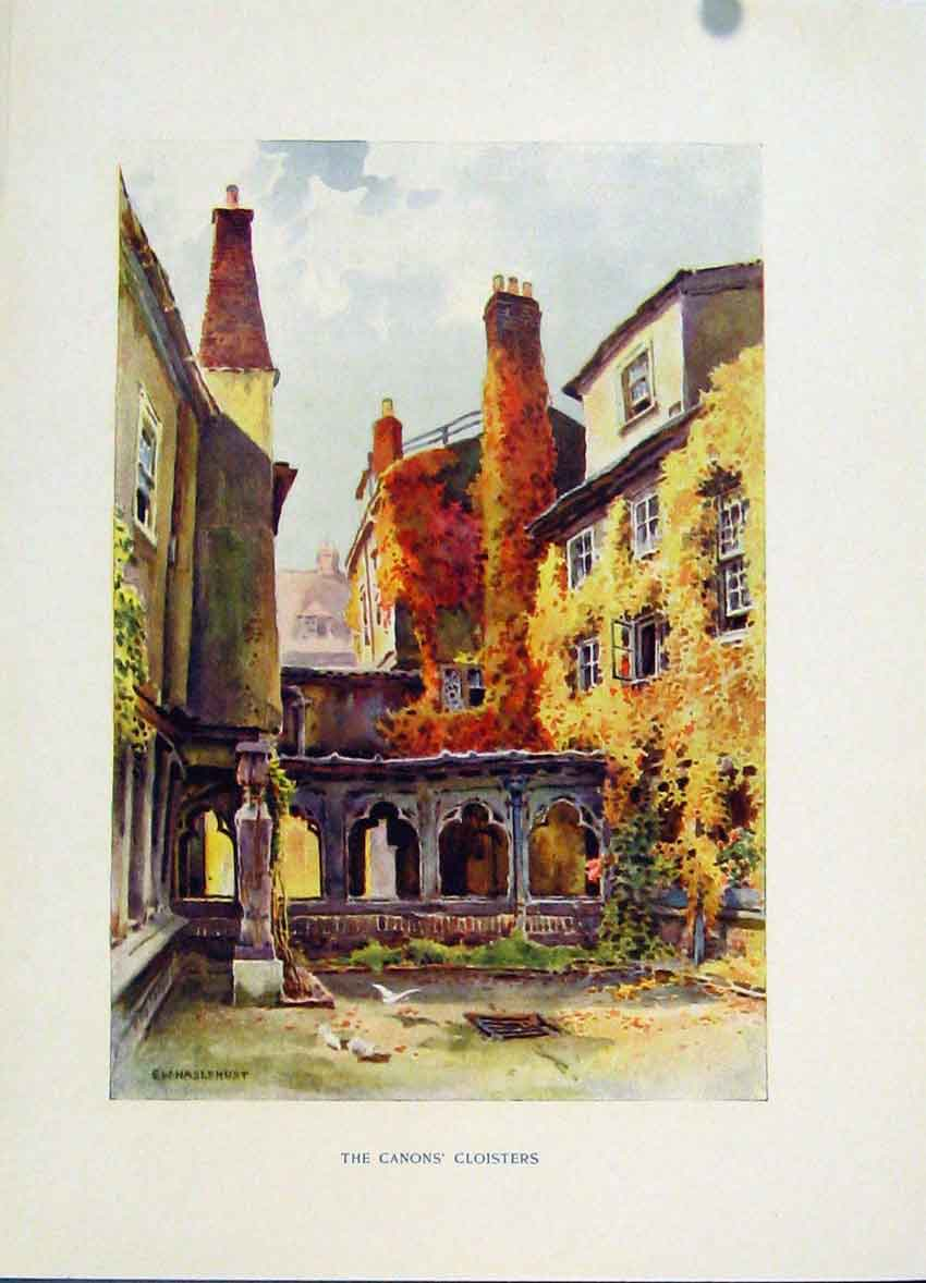 Print Painting By Haslehust Windsor Canons Cloisters C1920 188251 Old Original