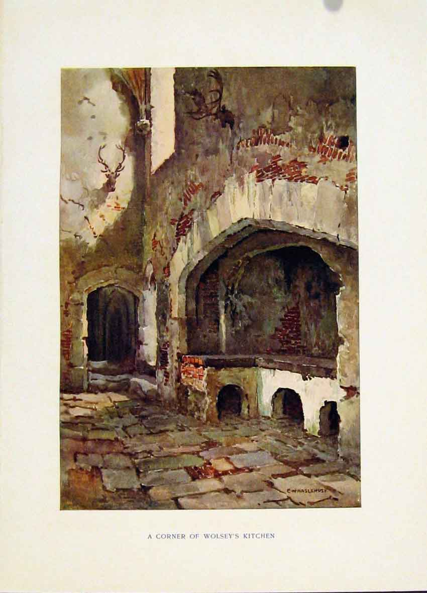 Print Corner Wolsey Kitchen C1920 Haslehust Hampton Court 268251 Old Original