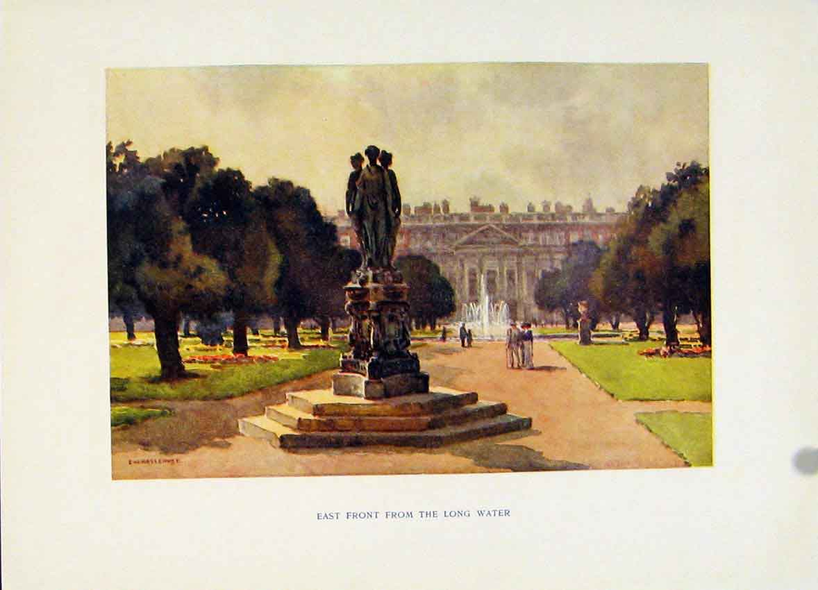 Print Hampton Court East Front Long Water Haslehust Painting 328251 Old Original