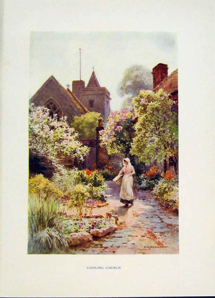 Print Cooling Church Painting By Haslehust C1920 Fine Art 428251 Old Original