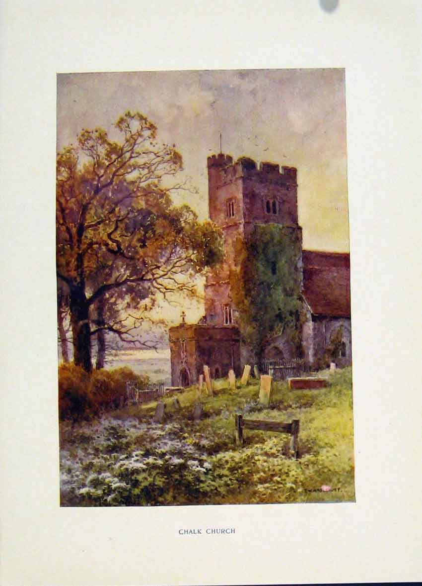 Print Painting By Haslehust Chalk Church C1920 468251 Old Original