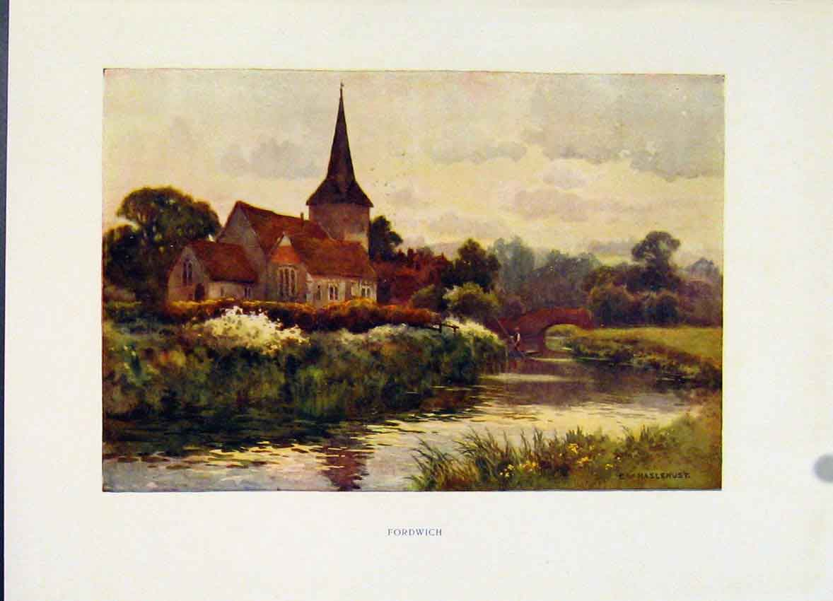 Print Fordwich Painting By Haslehust Color Fine Art C1920 078251 Old Original