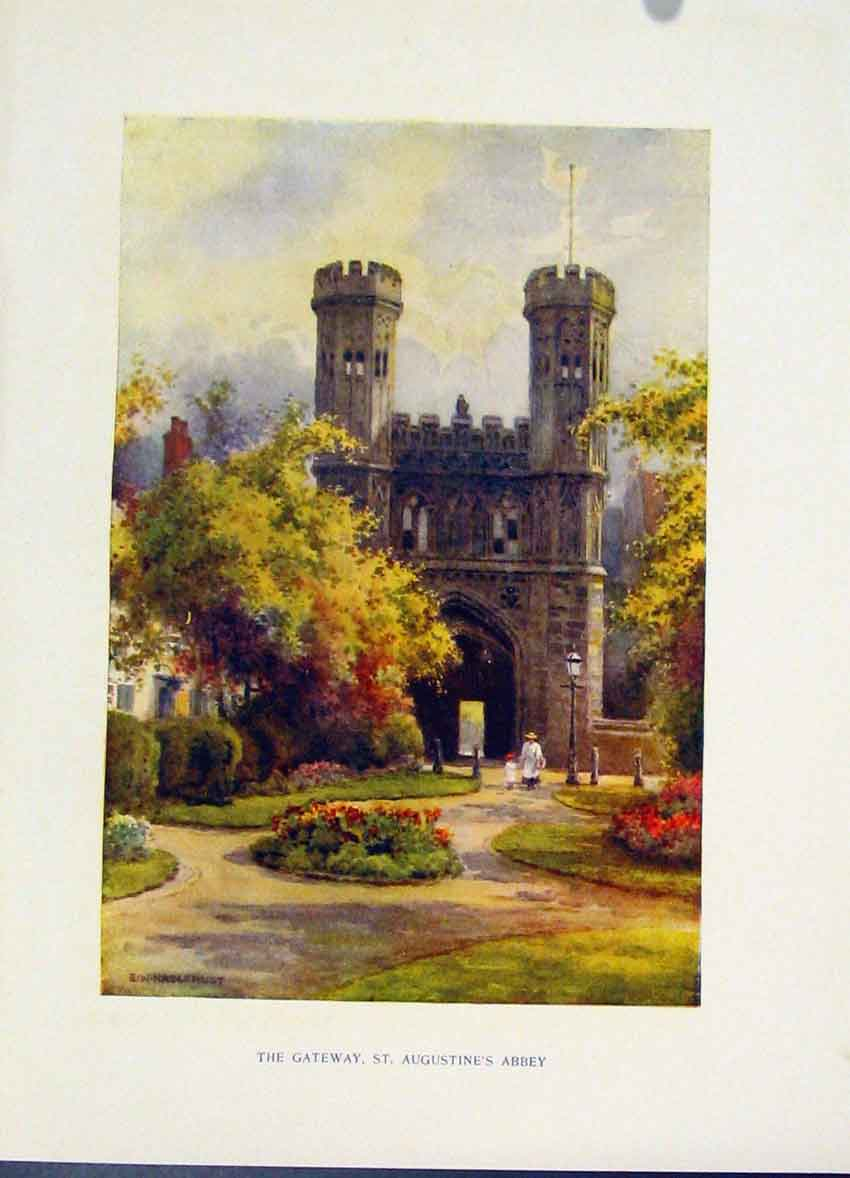 Print Gateway St Augustines Abbey Painting By Haslehust C1920 118251 Old Original