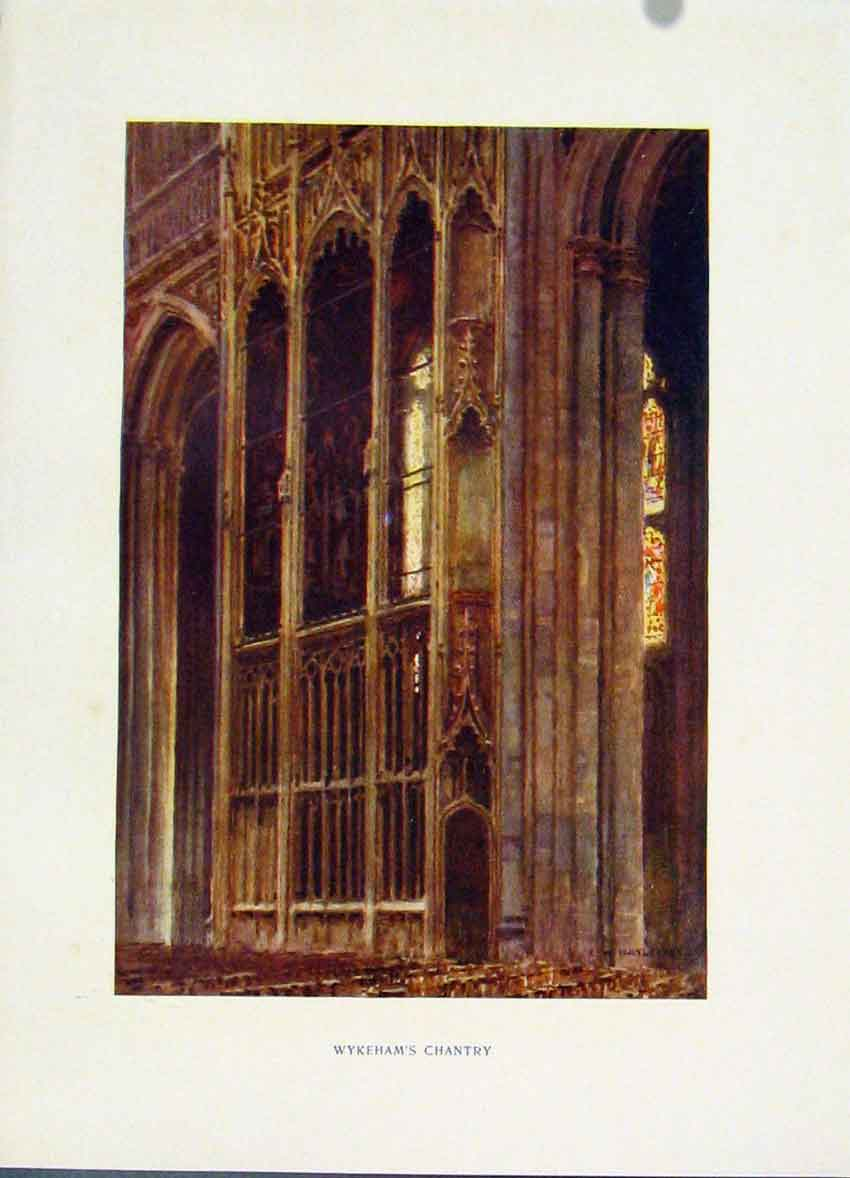 Print Painting By Haslehust Color Winchester Wykehams Chantry 168251 Old Original