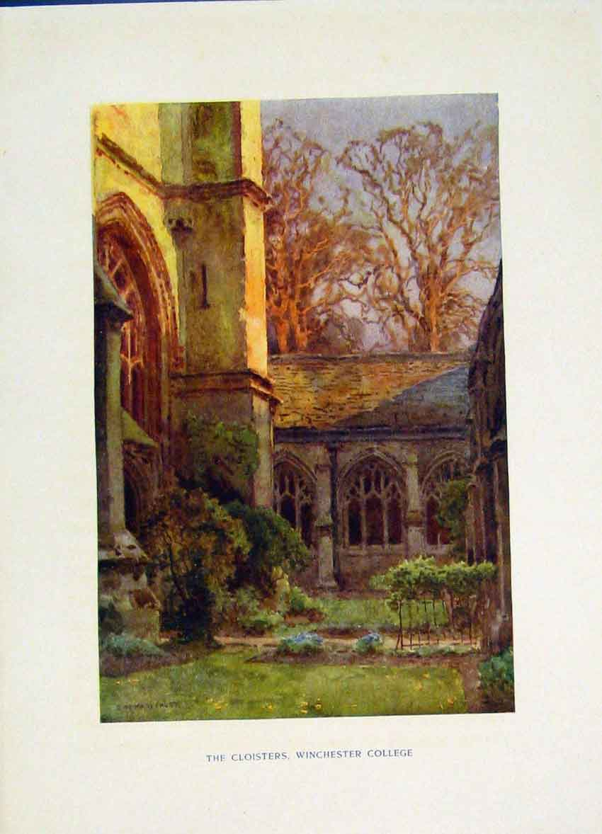 Print Cloisters Winchester College Painting By Haslehust Art 208251 Old Original