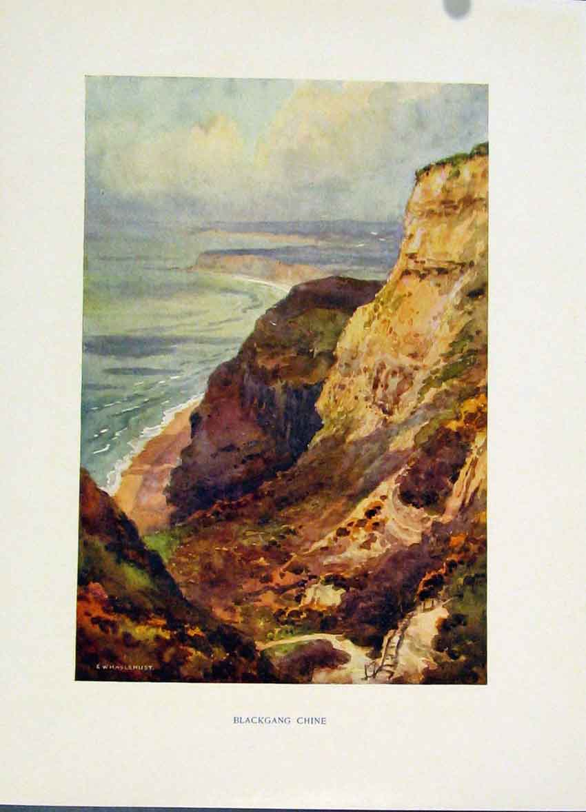 Print Halsehurst Painting Backgang Chine Isle Wight C1920 338251 Old Original