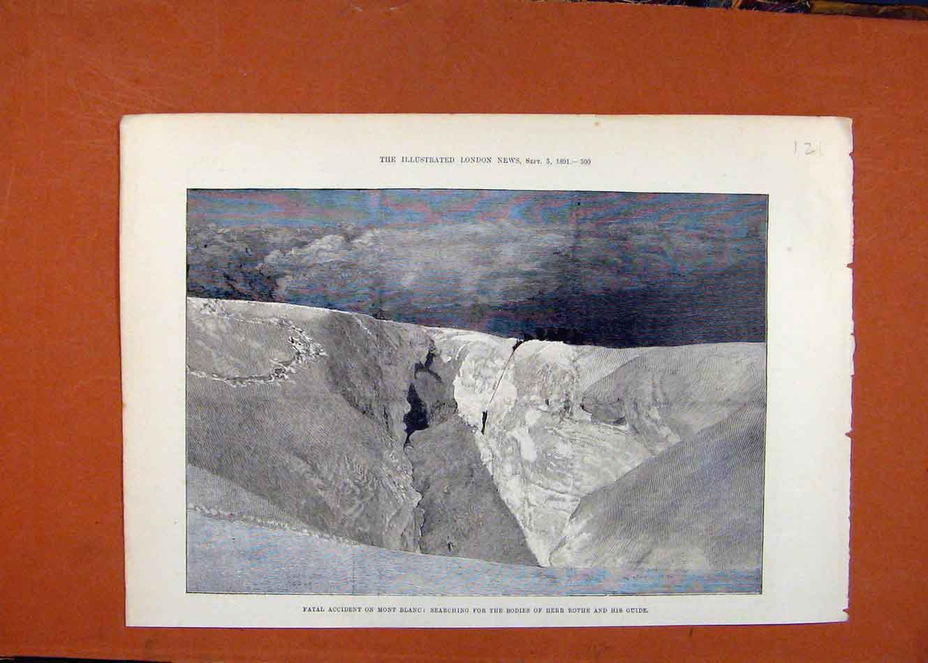 [Antique Print Fatal Accident Mont Blanc C1891 Illustrated London News 218260 ]