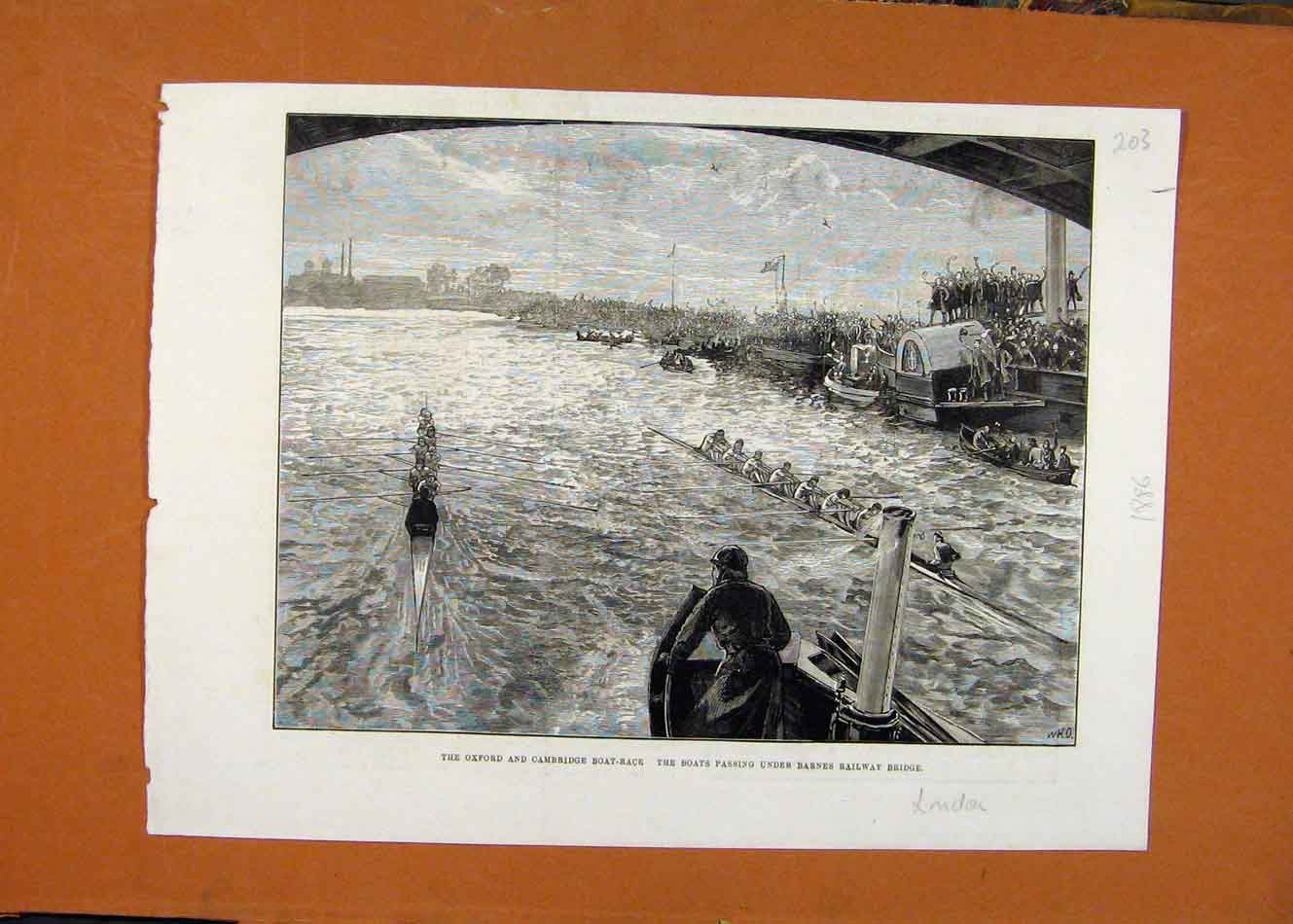 Print Oxford Cambridge Boat Race C1886 London New 038260 Old Original