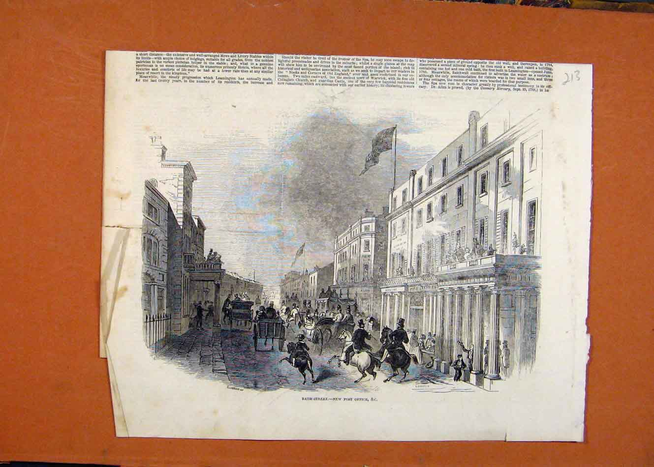 [Antique Print Bath Street Post Office C1846 Illustrated London News 138260 ]