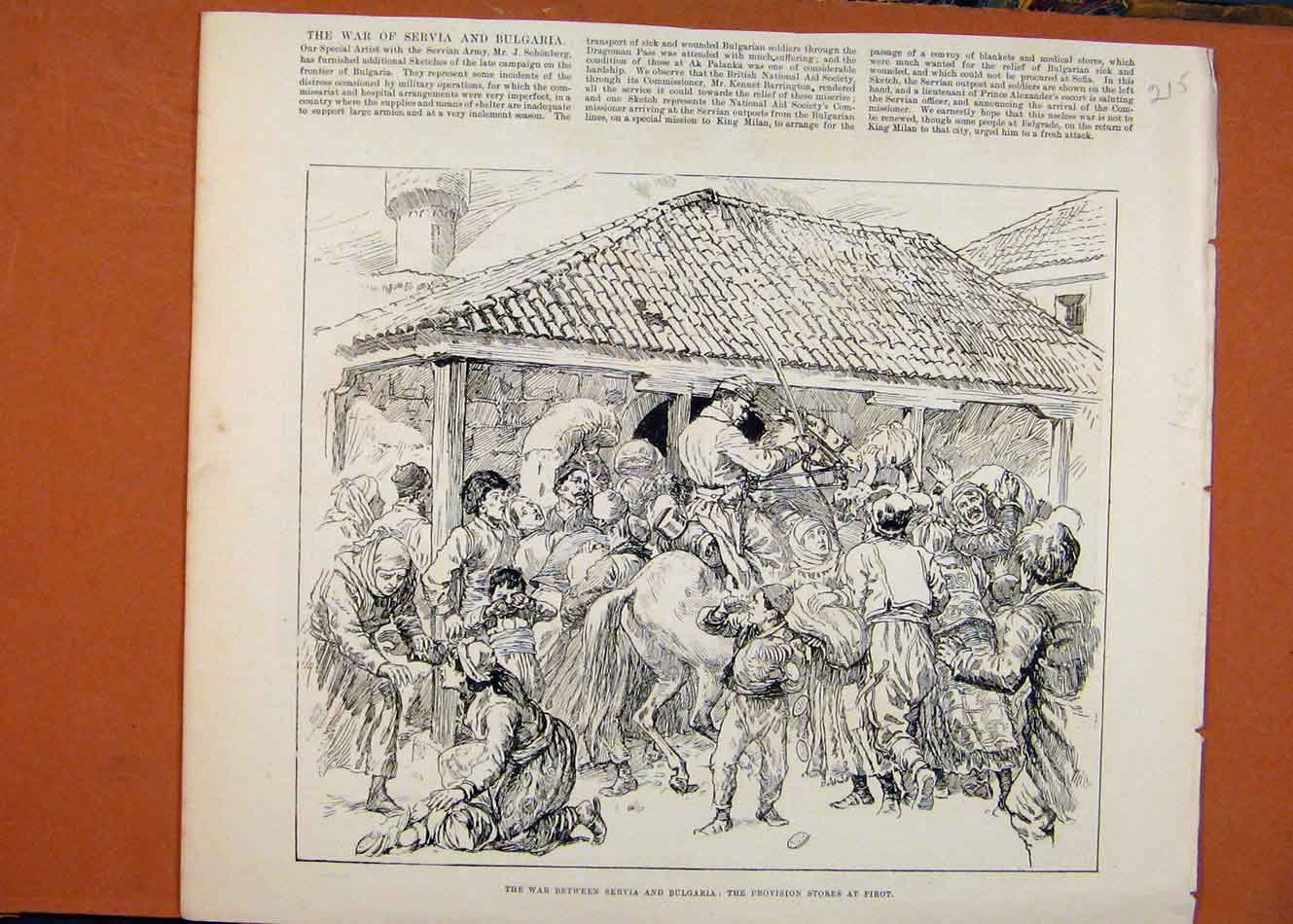 Print War Between Servia Bulgaria Illustrated London News 158260 Old Original