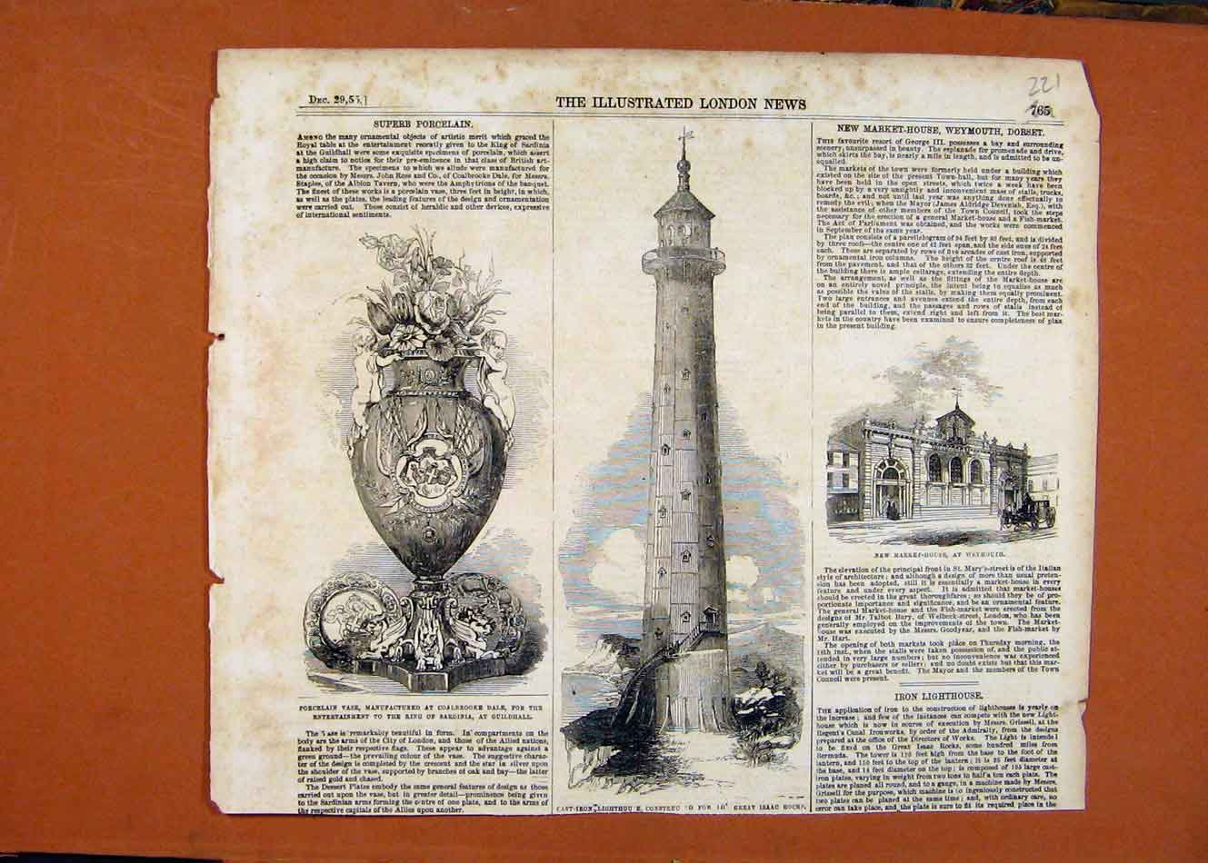 Print Porcelain Vase Cast Iron Lighthouse Market House C1855 218260 Old Original