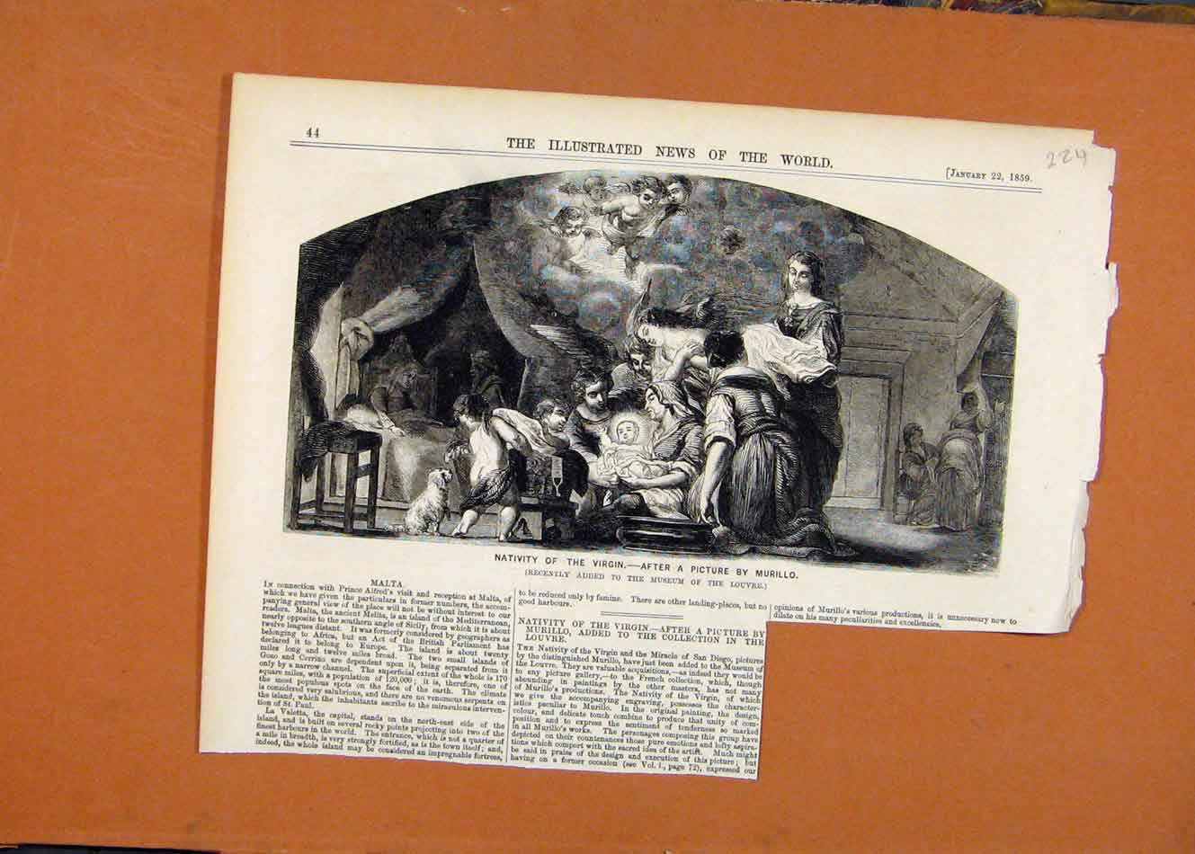[Antique Print Nativity Virgin Murillo C1859 Illustrated London News 248260 ]