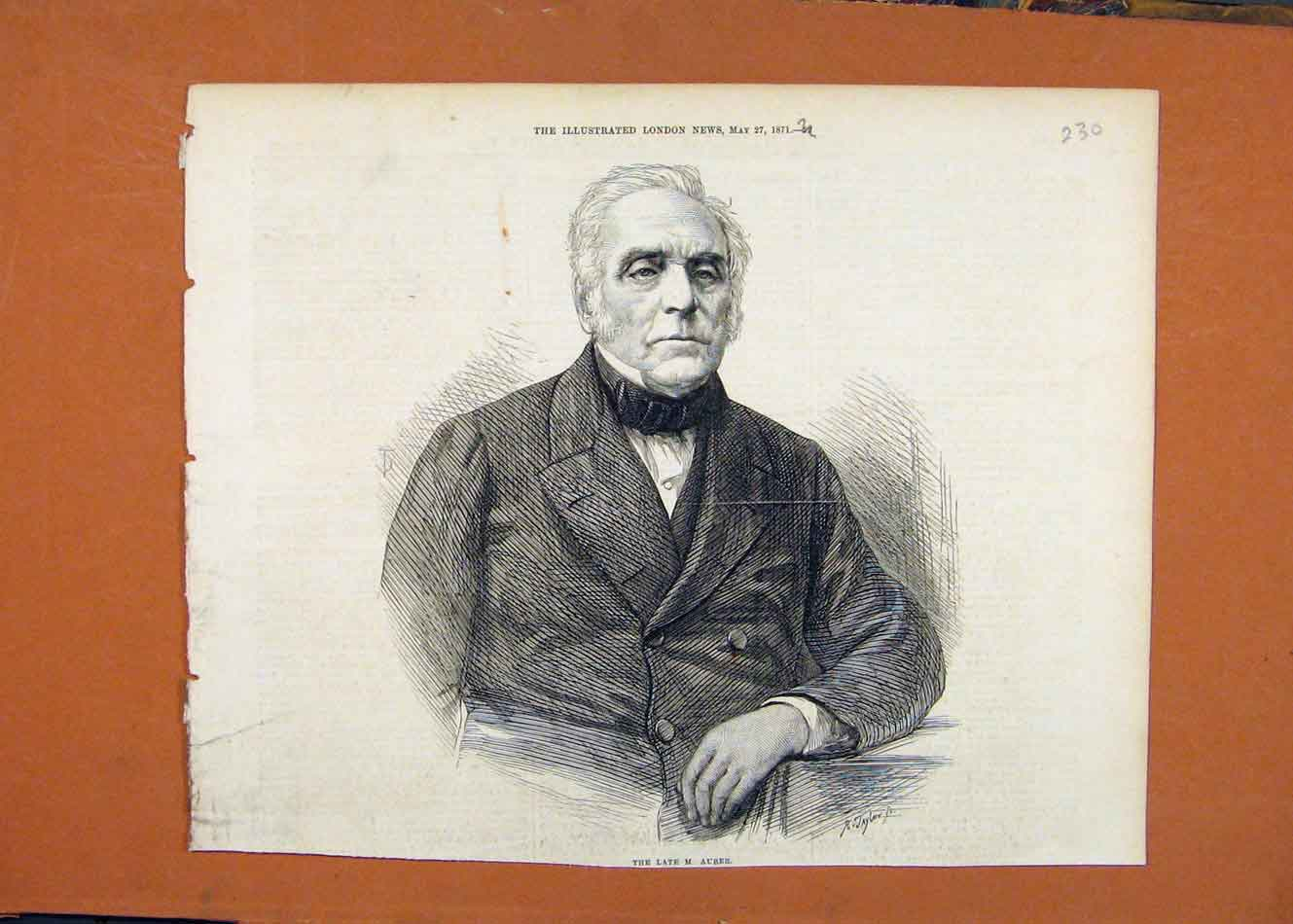 [Old Antique Print Late Auber Portrait C1871 Illustrated London News 308260 ]