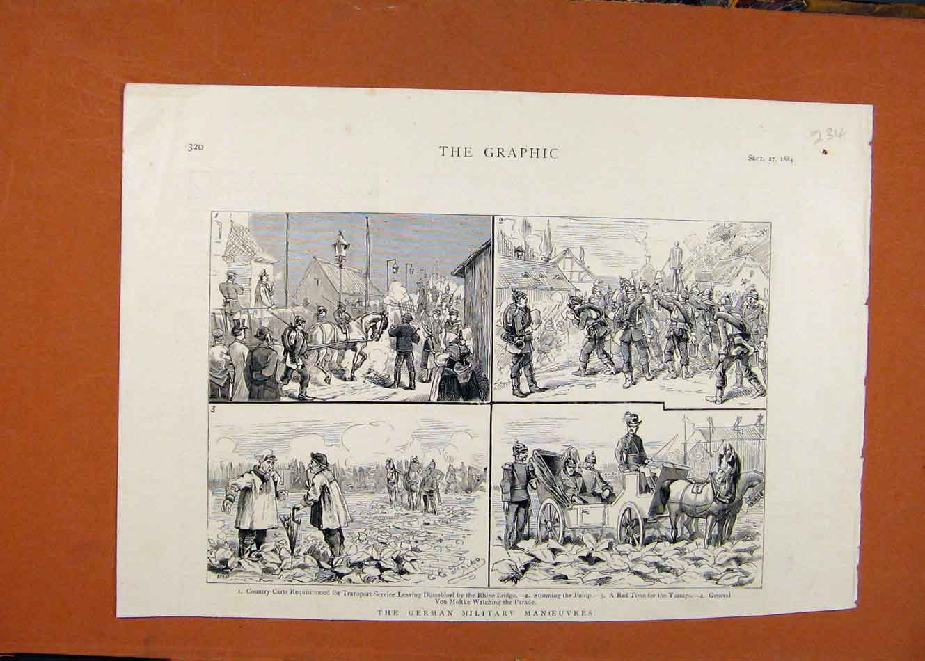 [Old Antique Print The Graphic C1884 German Military Manoeuvres 348260 ]