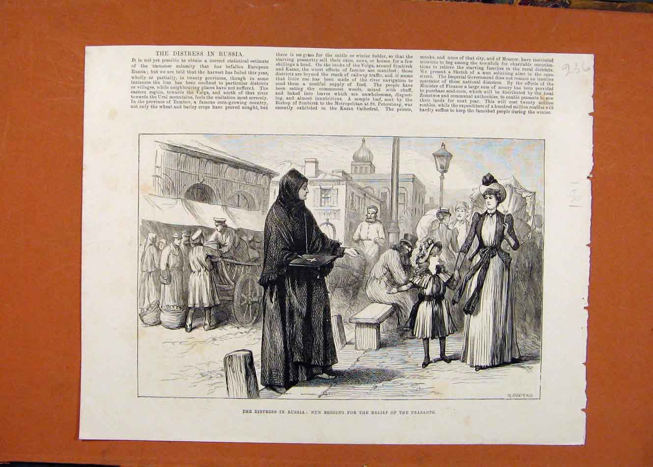 Print Distress Russia Nun Begging C1891 London News 368260 Old Original