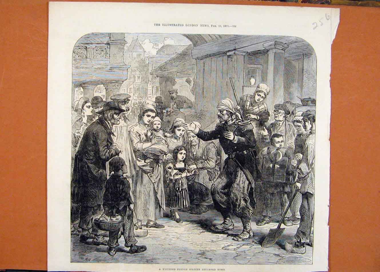 Print Wounded French Soldier Returning Home C1871 568260 Old Original