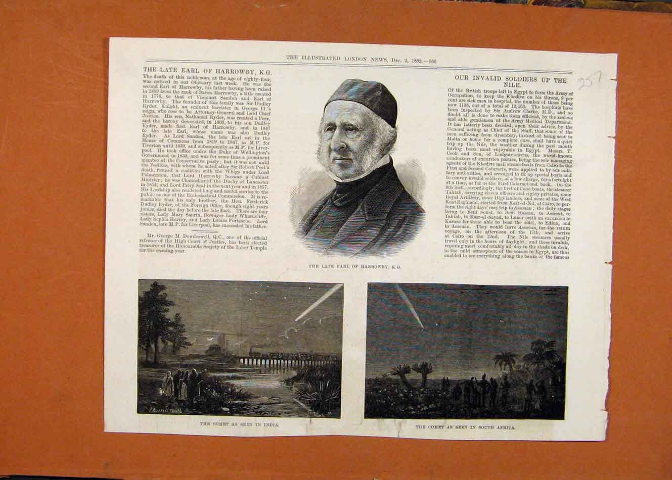 Print Late Earl Harrowby Comet India South Africa C1882 578260 Old Original