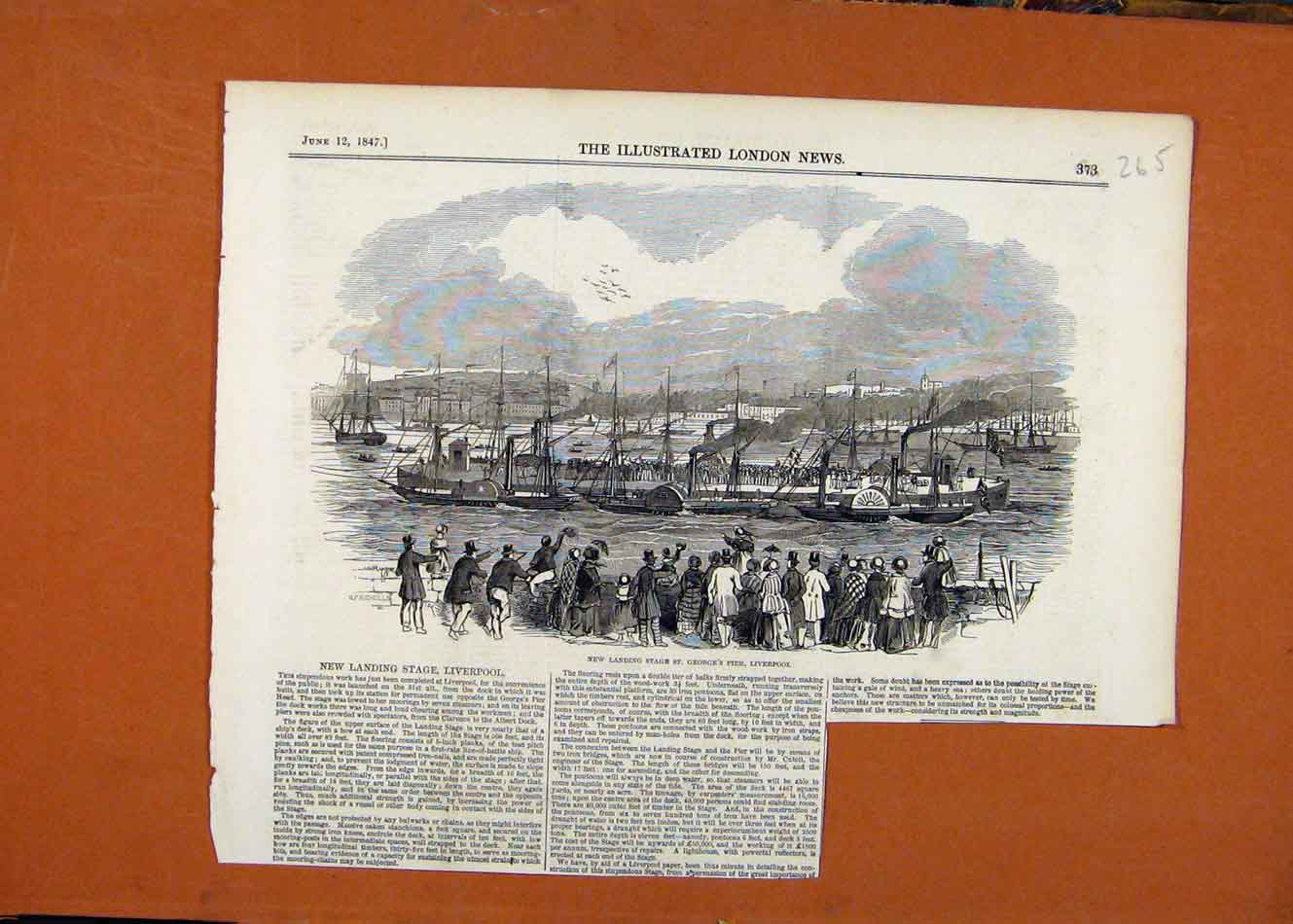 Print Landing Stafe St Georges Pier Liverpool C1847 658260 Old Original