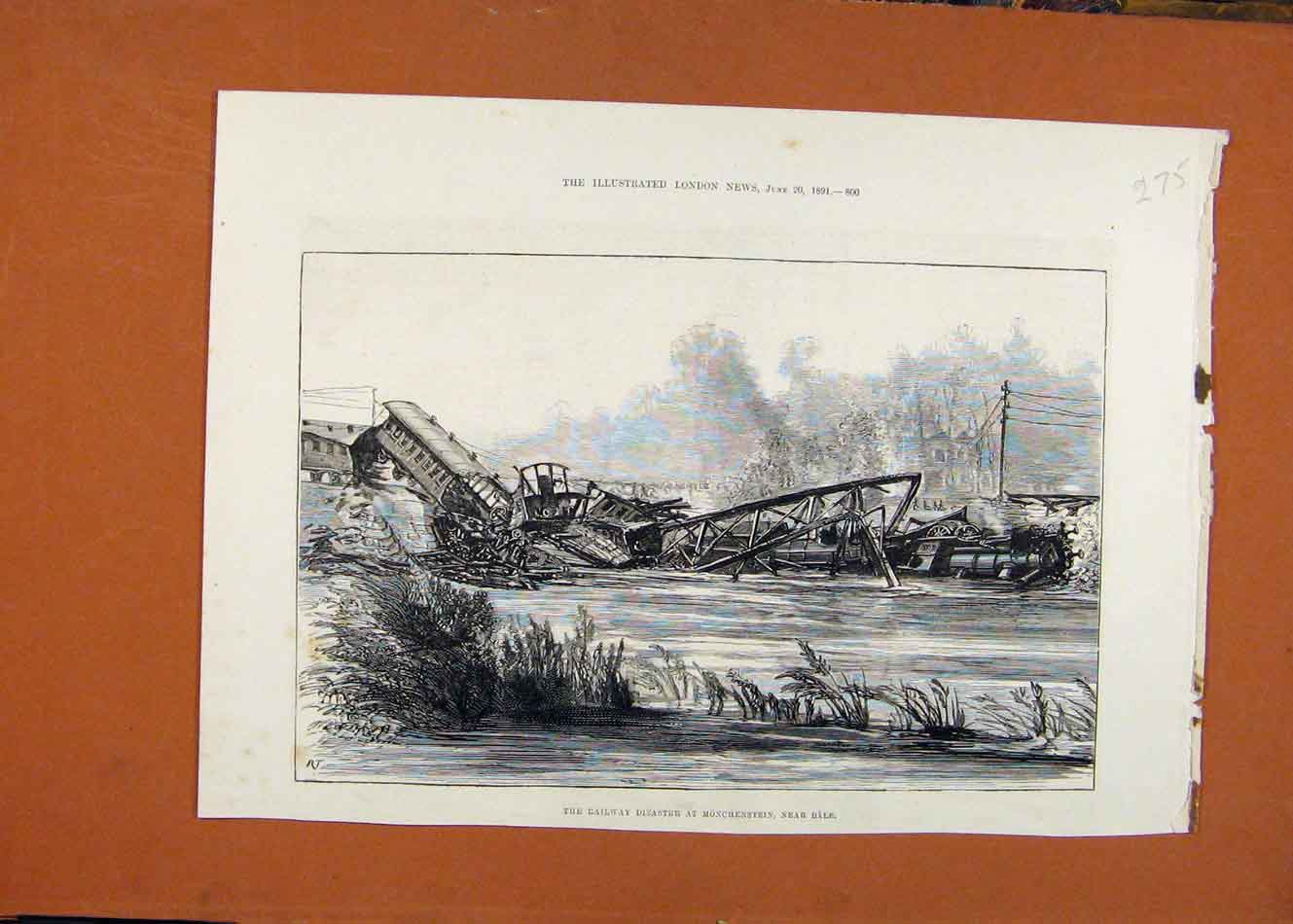 Print Railway Disaster Monchenstein Bale C1891 London News 758260 Old Original