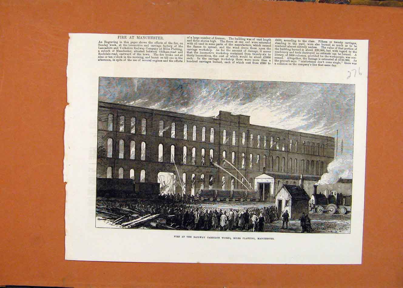 Print Fire Railway Carriage Works Mile Plating Manchester 768260 Old Original