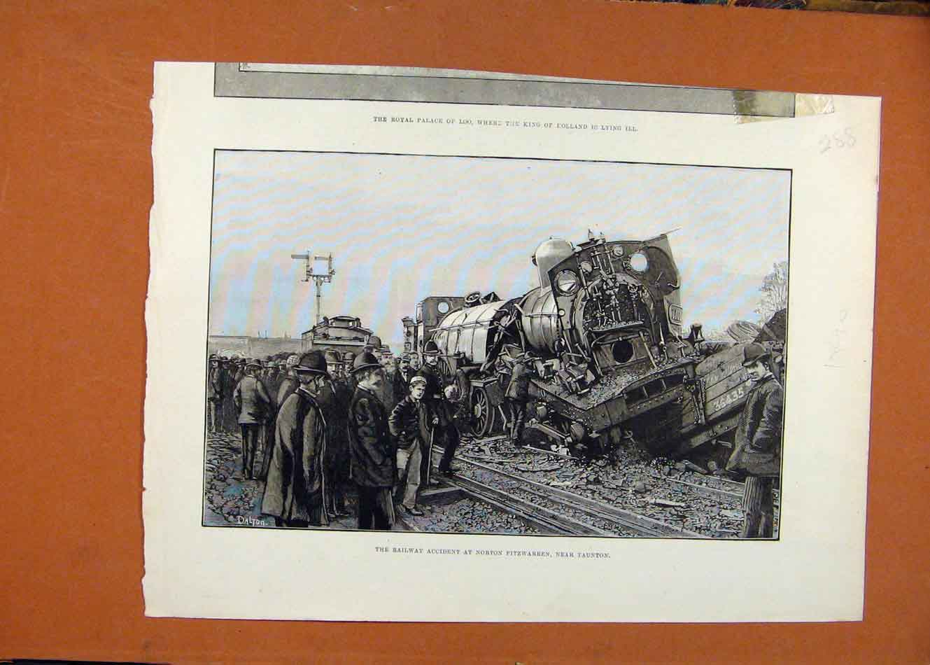 Print Railway Accident Norton Fitzwarren Taunton C1890 888260 Old Original