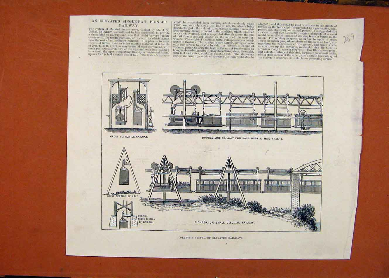 Print C1880 Pioneer Small Colonial Railway London News 898260 Old Original