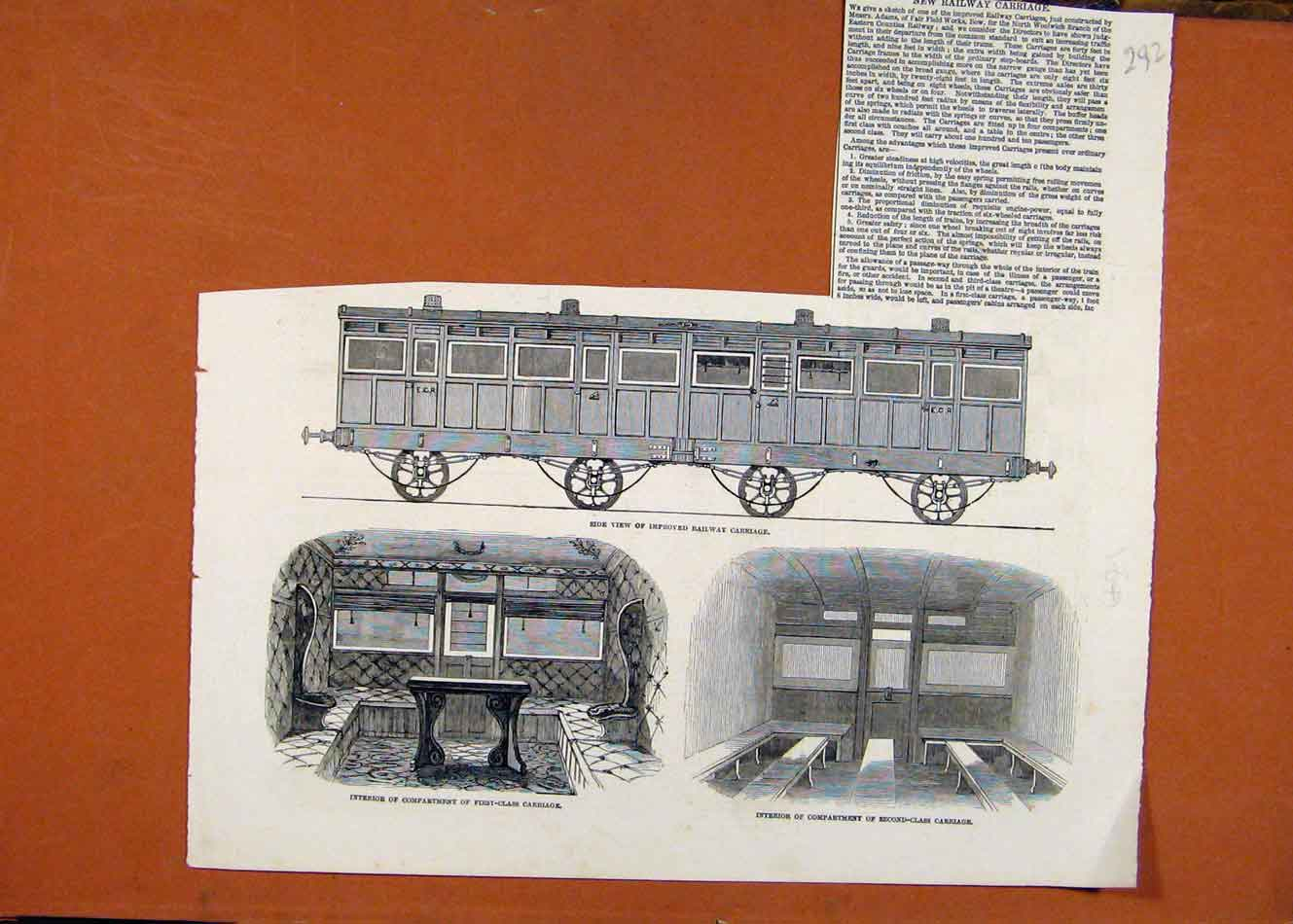 Print Compartment First Class Carriage Second Railway C1841 928260 Old Original