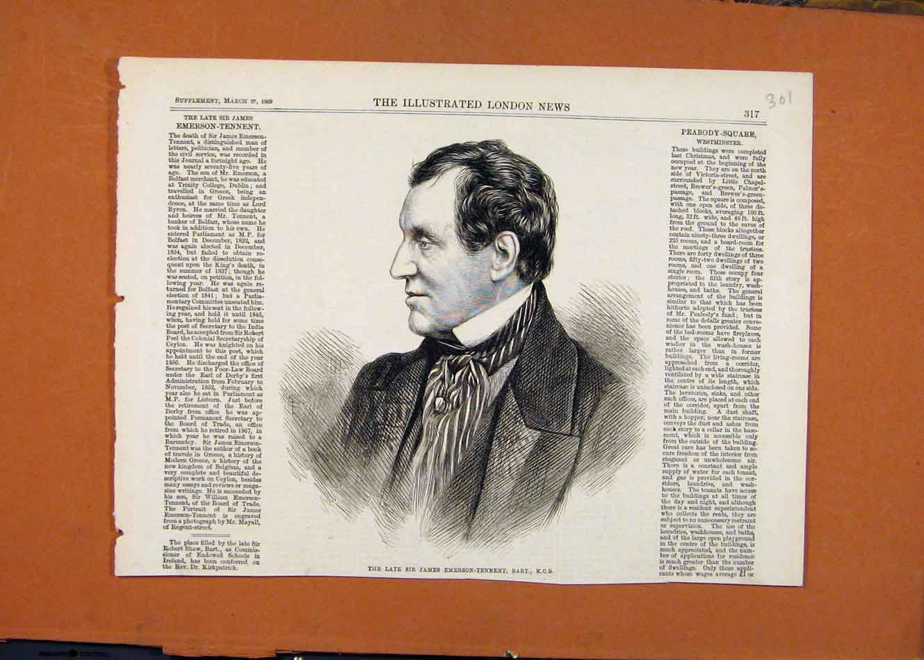 Print Late Sir James Emerson Tenneent Portrait C1869 018260 Old Original