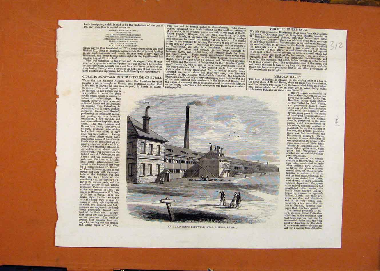 Print Juravleffs Ropewalk Ribinsk Russia C1860 London News 128260 Old Original